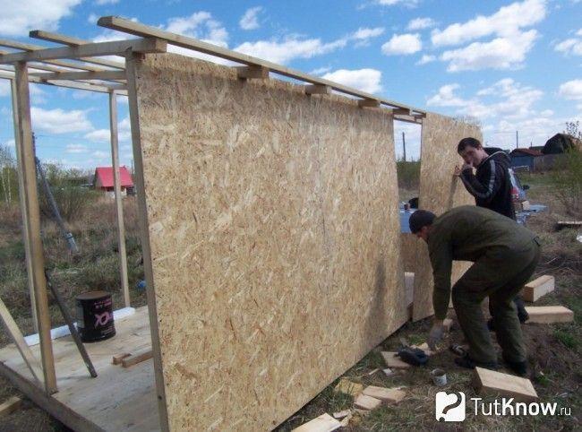 Збірка стін лазні з плит ОСБ