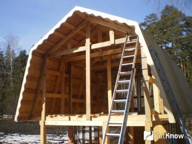 Спорудження даху для лазні з мансардою