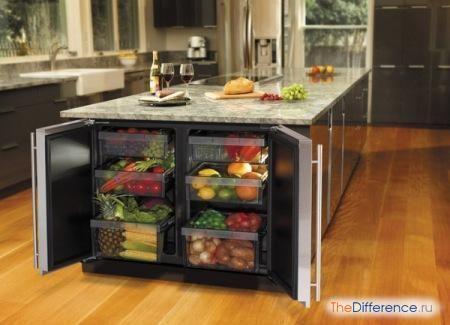 різниця між вбудовуваним холодильником та окремо розташованих