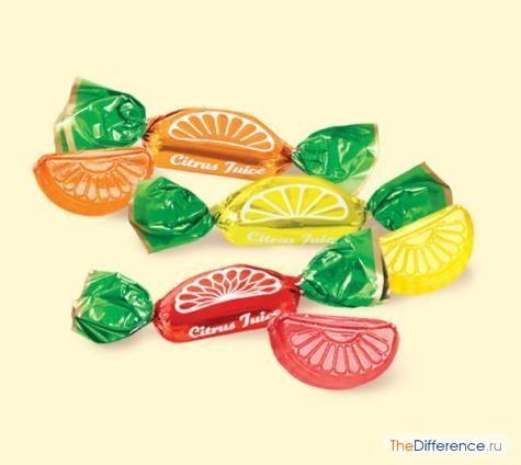 відміну цукерок від карамелі