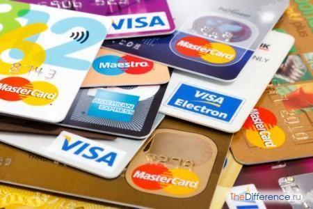 відміну кредитних карт від дебетових