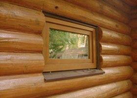 Установка дерев`яного вікна в лазні