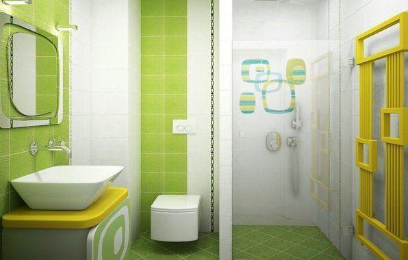 Ванна кімната в салатових і білих відтінках