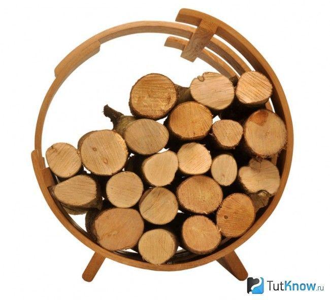 Мобільна дровница для лазні з деревини
