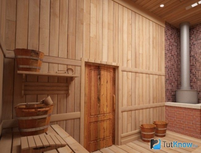Дерев`яні двері в інтер`єрі парної