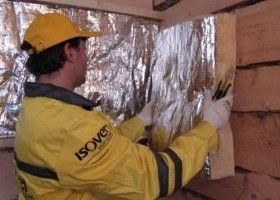 Монтаж теплоізоляції Изовер на стіни лазні