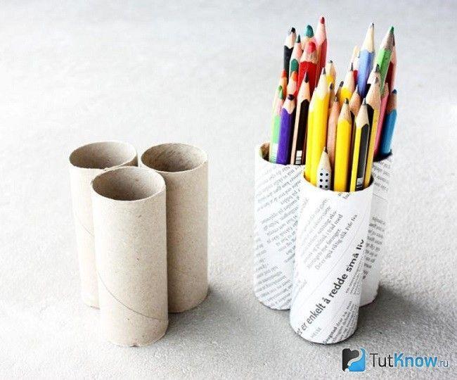 Підставка для олівців з картонної туби