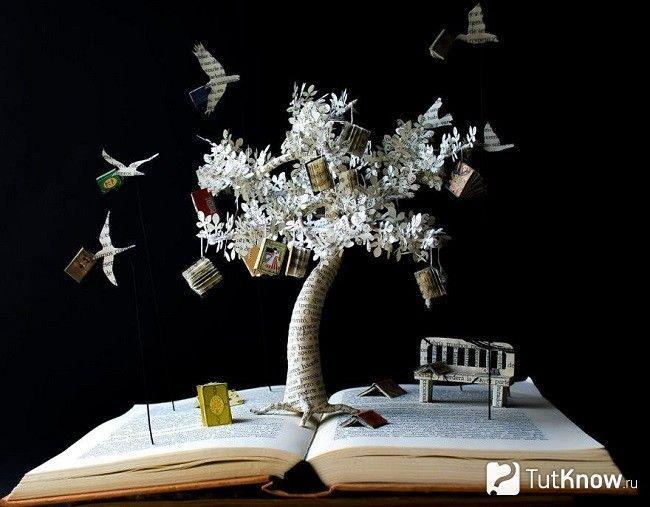 Дерево з газет на книзі