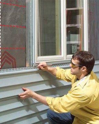 1. Відзначте зрізи для сайдингу під вікном