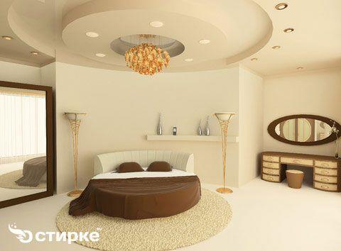 спальня з матовим натяжною стелею