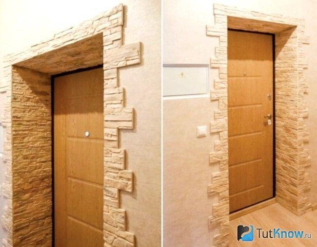 Дверний отвір з штучним каменем