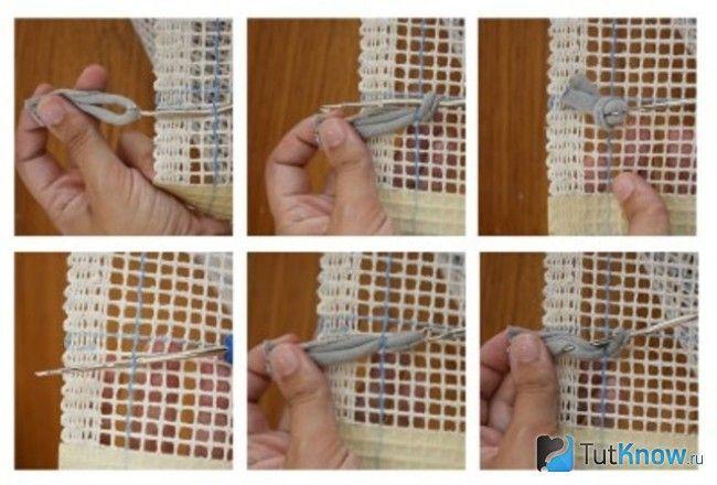 Клеїмо клапті на сітку килимка