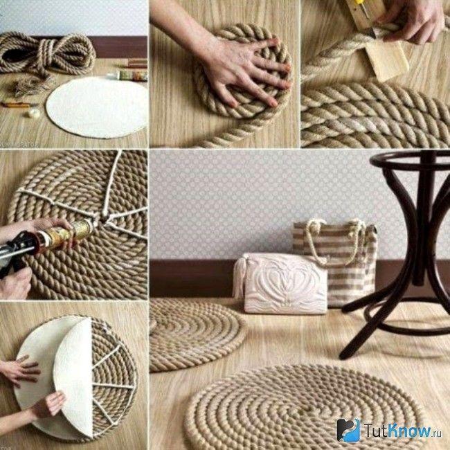 Поетапно робимо килимок з мотузки