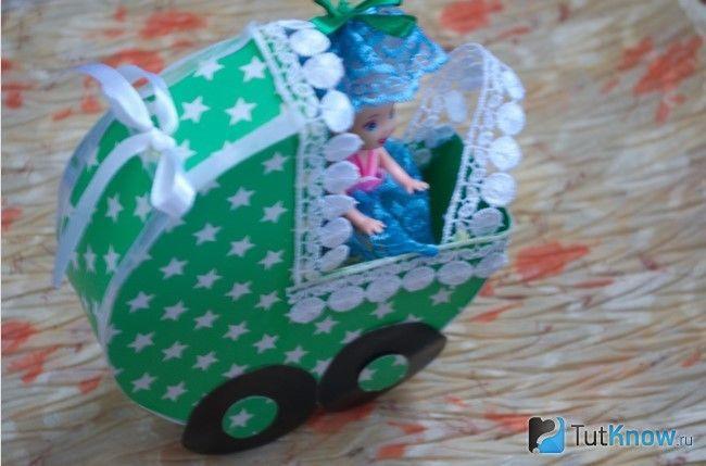 Картонна коляска для ляльки