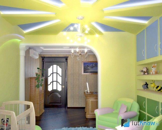 Гипсокартонное сонце на стелі