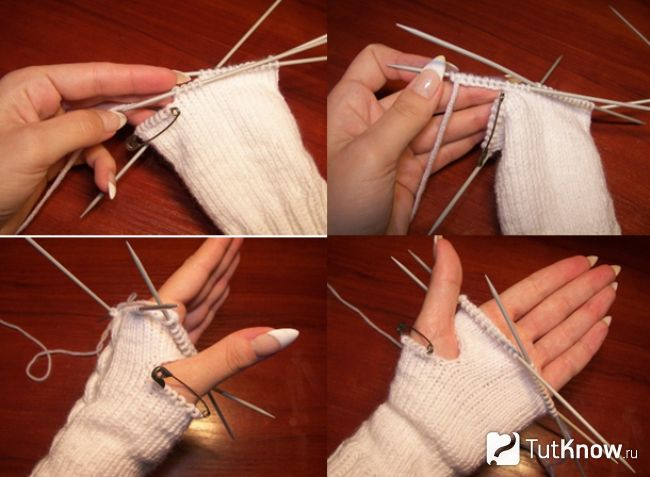 В`язання пальця для рукавиці