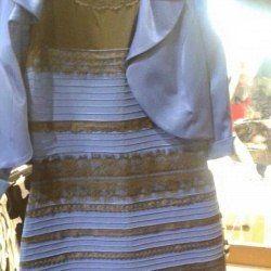 Якого кольору це плаття: біле-золотаве або синьо-чорне?