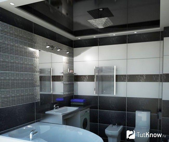 Натяжна стеля у ванній кімнаті
