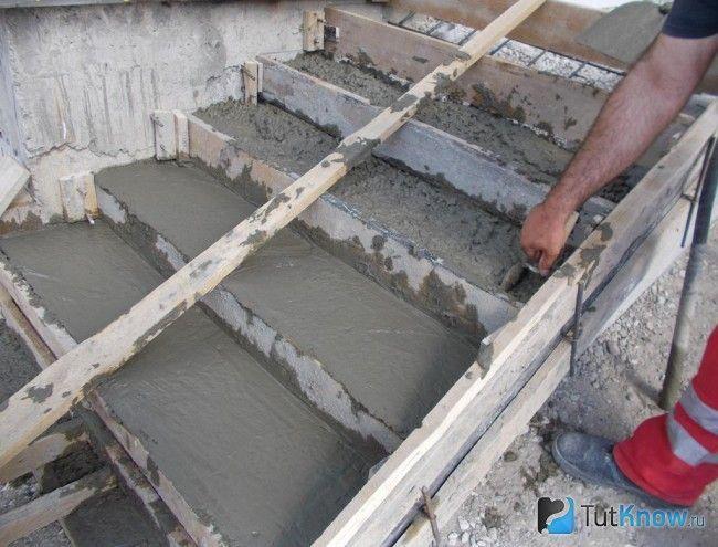 Заповнення опалубки для ганку бетоном