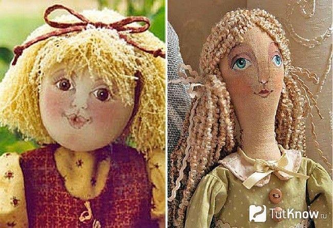 Зачіска з пряжі для ляльки