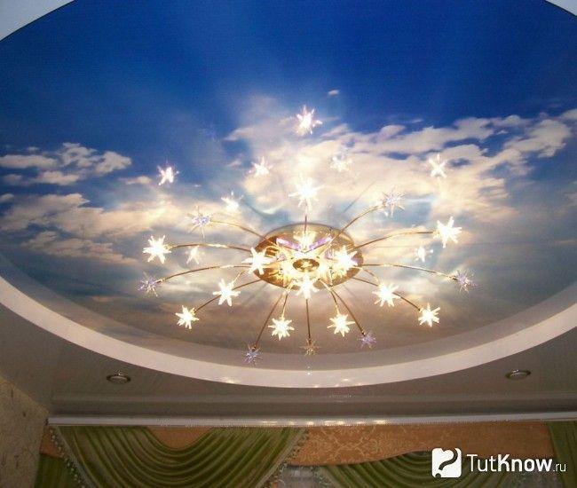 Люстра на натяжній стелі у вигляді неба