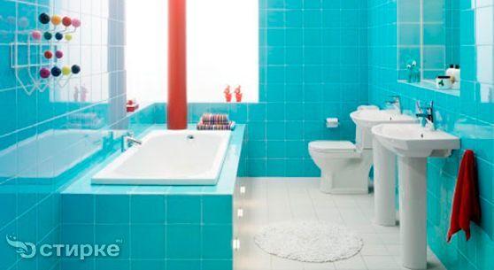 Оформлення ванної кімнати плиткою і меблями