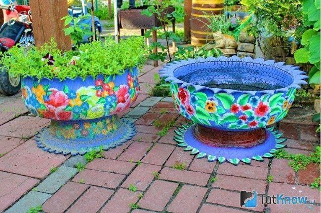 Садові вазони з покришок