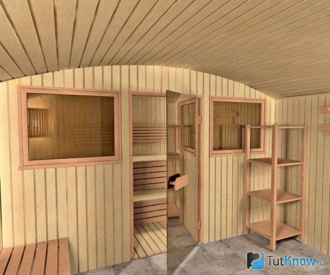 Обшивка стелі в лазні дерев`яною вагонкою