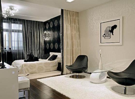 зонування кімнати на спальню і вітальню з допомогою штори