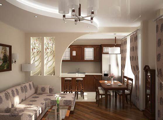 арка для поділу кімнати на кухню і вітальню