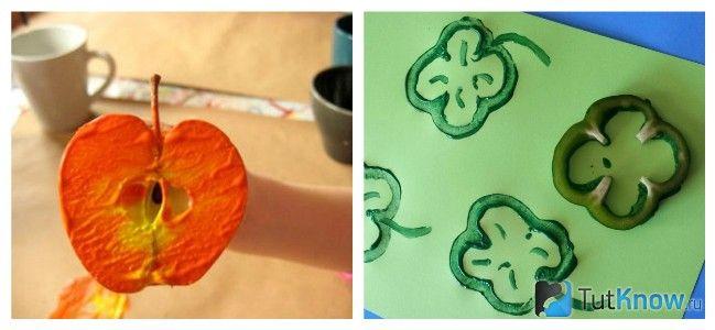 Малювання половинкою яблука і шматочками перцю