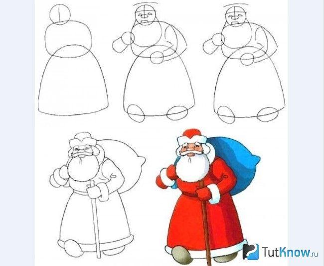 Поетапне малювання Діда Мороза