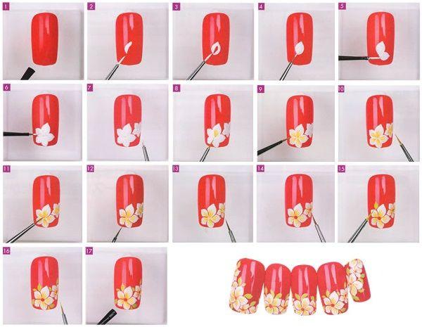 Як намалювати на нігтях нарцис акриловими фарбами