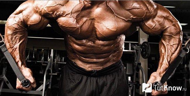 Спортсмен виконує тягу блоку