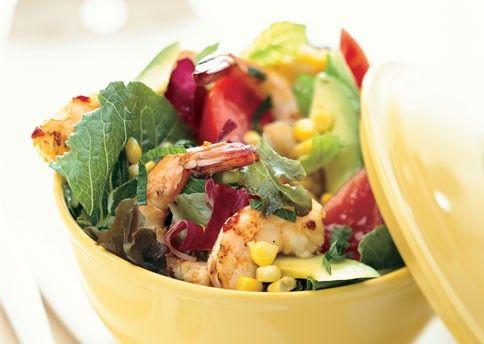 Салат з кукурудзою і креветками
