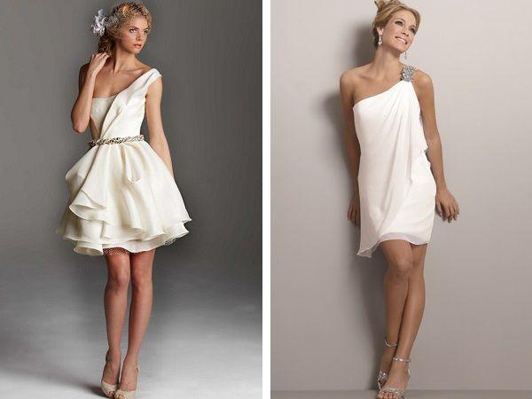 Весільні сукні з асиметричними бретелями