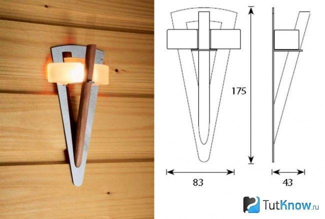 Світильник факел для лазні