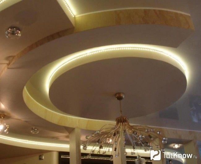 Оптоволоконний світильник в стелі з гіпсокартону