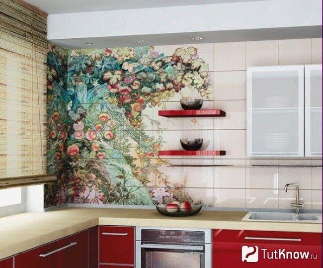 Декорування стін на кухні наклейками на плитці