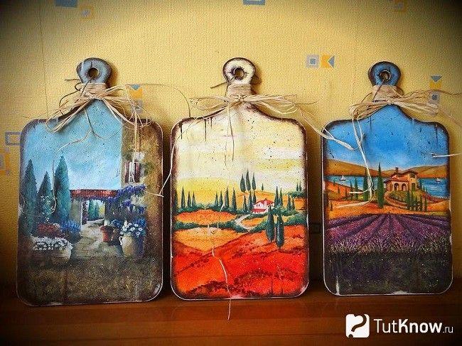 Обробні дошки, декоровані в техніці декупаж