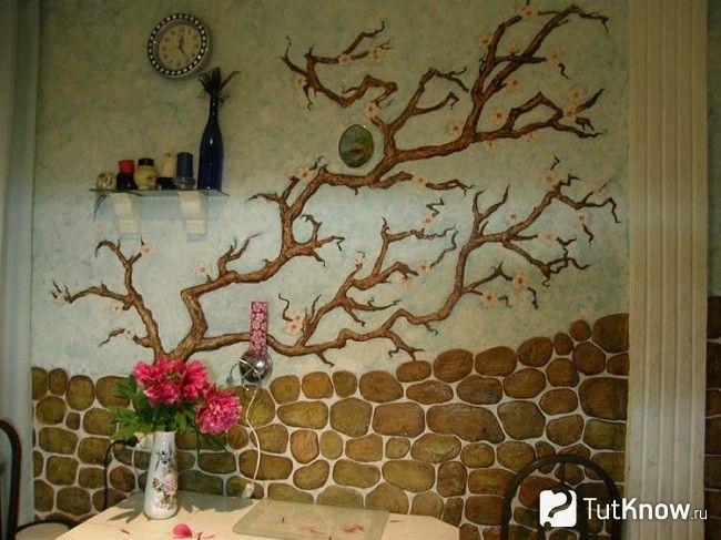 Декорування стін на кухні шпалерами під фарбування