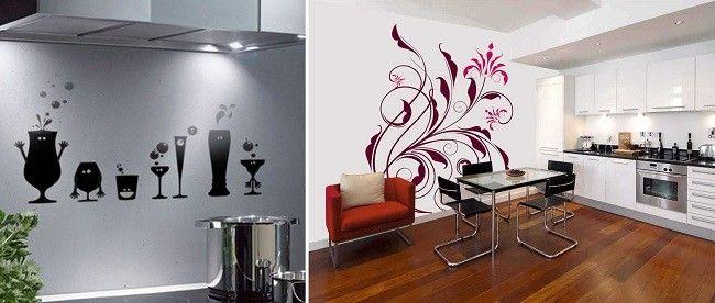 Декорування стін на кухні вініловими наклейками