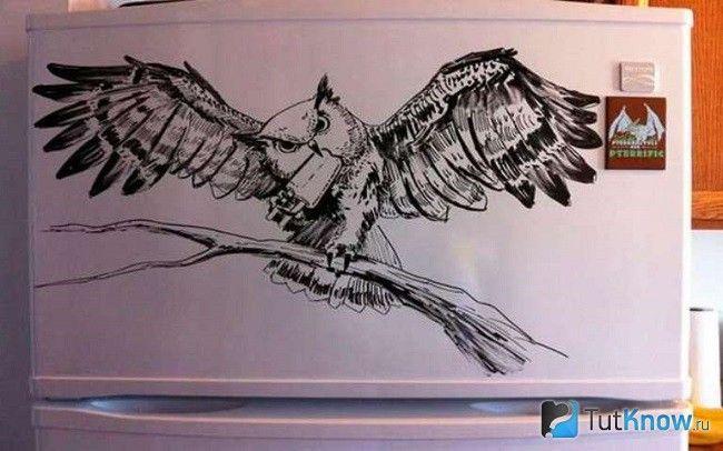 Декорування холодильника малюнком маркером