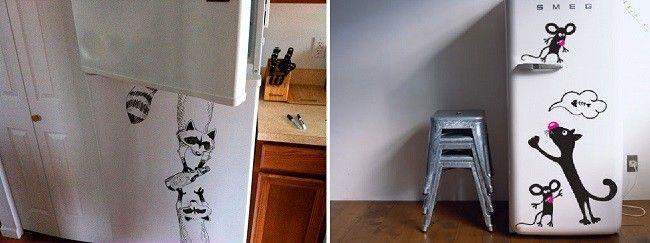 Оригінальні малюнки маркером на холодильнику