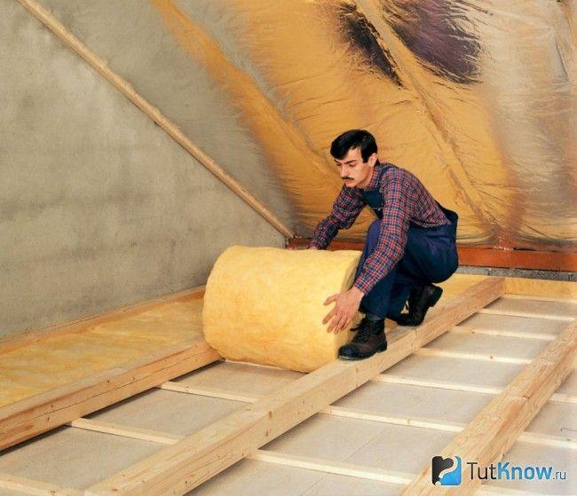 Утеплення підлоги в мансарді лазні мінватою